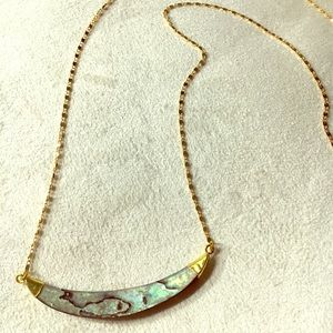Function and Fringe Gold Plated Abalone Necklace
